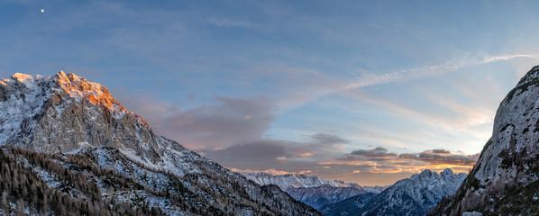 julian alps mountains at sunset winter landscape