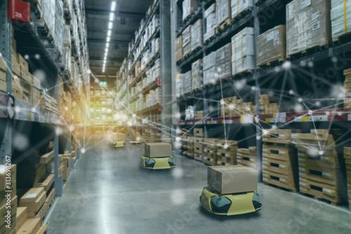 Photo smart retail concept, autonomous robot service use for move box in Stores that s