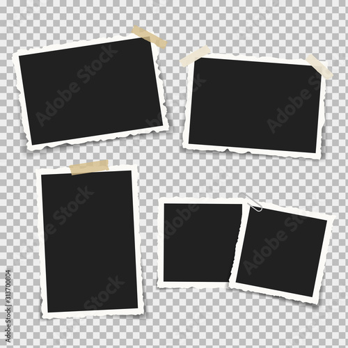 Obraz Set of realistic photo frames with retro shapes around the edges, on brackets and pieces of sticky adhesive tape and scotch tape. Vector illustration. - fototapety do salonu