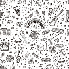 Vector Music background. Seamless pattern with Hand drawn doodle Musical Inst...