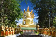 Golden Giant Buddha - Wat Bang Riang, Wat Rat Upathamin, Temple In Khao Lan Mountains Of Phang Nga Province, Thailand