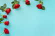 canvas print picture - Top view of red roses and hearts for Valentines Day