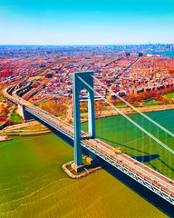 Fototapeta Mosty Aerial view with Verrazano-Narrows Bridge over Upper Bay and Lower Bay. It connects Brooklyn and Staten Island. Manhattan Area, New York of USA. United States of America, NYC, US.