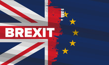 Brexit Poster. UK Leaving EU. Crisis In Relations Between The United Kingdom And The European Union. Vote For New Deal. Brexit Without Deal. Great Britain And Europe Flags. Vector Illustration