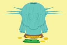 Liberty Statue Head Vector. Piggy Bank Illustration Design