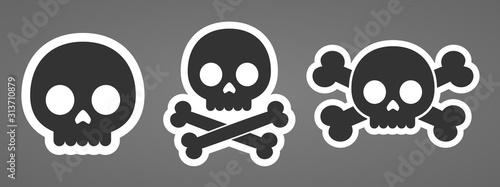 Cartoon robot skulls machine head crossbones icons vector illustration Canvas Print