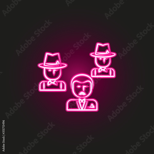 Fotografie, Tablou gang, criminal, godfather, mafia neon style icon