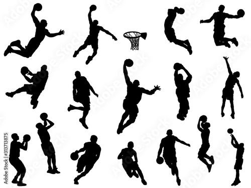 バスケットボール_シルエット Canvas Print