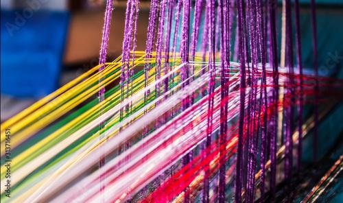 indian manual loom hand weave Fototapeta