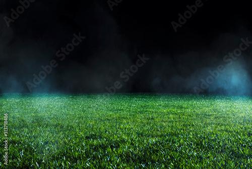 Spotlight shining on the green turf of an empty sports field at night Canvas Print