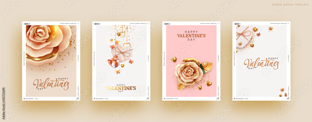Fototapeta Valentines Day Set of Holiday Gift Card. Romantic banners, web poster, flyers and brochures, greeting cards, group bright covers. Design with realistic decoration objects. wedding invitations