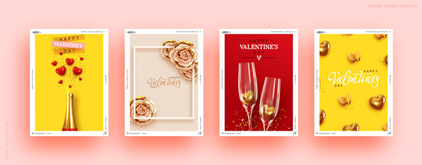 Valentines Day Set of Holiday Gift Card. Romantic banners, web poster, flyers and brochures, greeting cards, group bright covers. Design with realistic decoration objects. wedding invitations