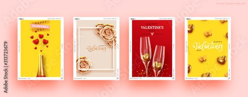 Obraz Valentines Day Set of Holiday Gift Card. Romantic banners, web poster, flyers and brochures, greeting cards, group bright covers. Design with realistic decoration objects. wedding invitations - fototapety do salonu