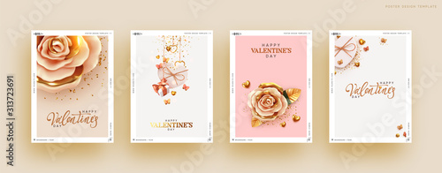Fototapeta Valentines Day Set of Holiday Gift Card. Romantic banners, web poster, flyers and brochures, greeting cards, group bright covers. Design with realistic decoration objects. wedding invitations obraz