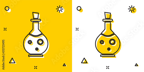 Black Glass bottle with magic elixir icon isolated on yellow and white background Canvas Print