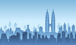 A illustration city vector background in the morning of Twin Tower Malaysia