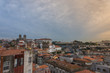 Oporto, Portugal skyline, old buildings, churches and Dom Luis iron bridge in background