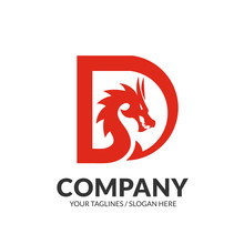 Creative Dragon With Initial Letter D Logo Concept