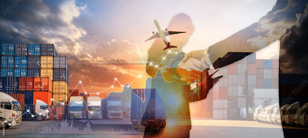 Fototapeta Business Logistics and transportation concept, Business man is making success in service of logistic import export and transport shipping container