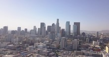 4k Drone Aerial Downtown Los Angeles With Traffic, Bikes, Skyline, City Hall, Police Building