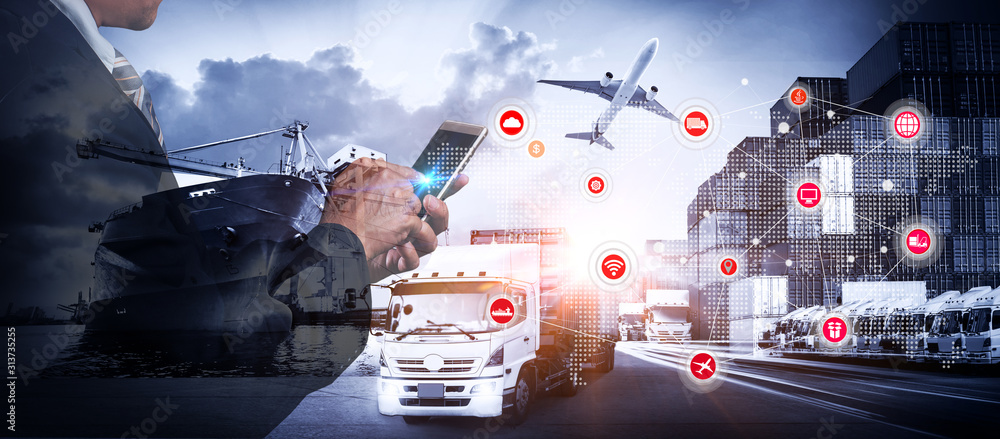 Fototapeta Smart technology concept with global logistics partnership Industrial Container Cargo freight ship, internet of things Concept of fast or instant shipping, Online goods orders worldwide