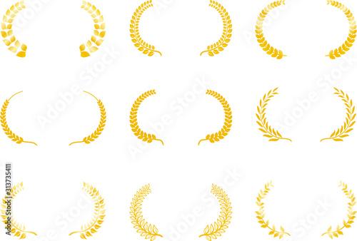 Fototapeta Wide Round frame of Gold laurel set obraz