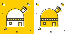Black Astronomical Observatory Icon Isolated On Yellow And White Background. Random Dynamic Shapes. Vector Illustration
