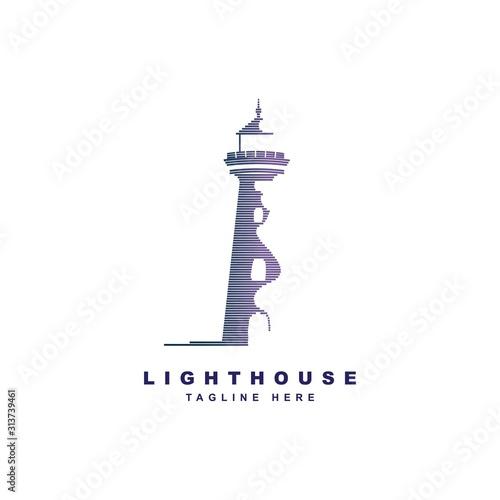 Lighthouse logo design vector template.Beacon symbol illustration Canvas Print