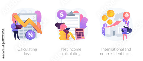 Fototapeta Company profit and loss flat icons set. Investment taxation. Calculating loss, calculating net income, international and non-resident taxes metaphors. Vector isolated concept metaphor illustrations obraz