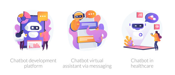 FototapetaChat bot, support automated technologies. Chatbot development platform, chatbot virtual assistant via messaging, chatbot in healthcare metaphors. Vector isolated concept metaphor illustrations.