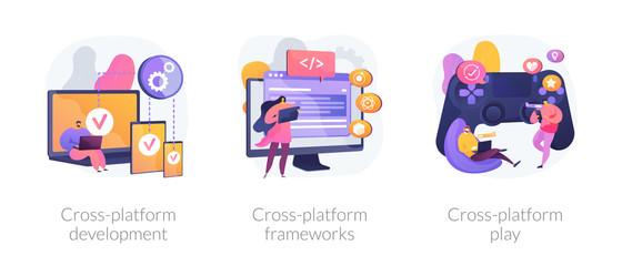 Multi-platform software. Responsive app coding and programming. Cross-platform development, cross-platform frameworks, cross-platform play metaphors. Vector isolated concept metaphor illustrations.