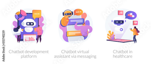 Chat bot, support automated technologies. Chatbot development platform, chatbot virtual assistant via messaging, chatbot in healthcare metaphors. Vector isolated concept metaphor illustrations.