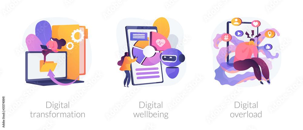 Fototapeta Technologies integration, online documents organization. Modern innovation. Digital transformation, digital wellbeing, digital overload metaphors. Vector isolated concept metaphor illustrations.