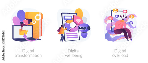 Obraz Technologies integration, online documents organization. Modern innovation. Digital transformation, digital wellbeing, digital overload metaphors. Vector isolated concept metaphor illustrations. - fototapety do salonu
