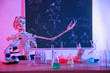 canvas print picture - Skeleton and different chemistry glassware in classroom, toned in pink