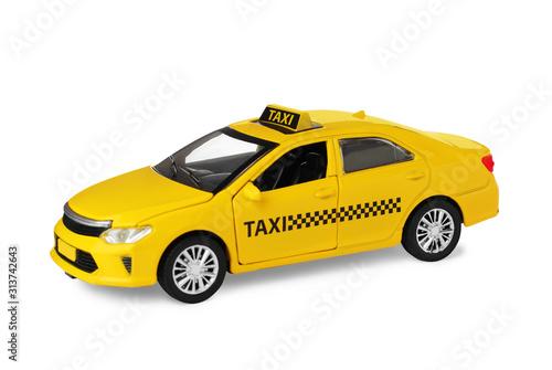 Fotografia Yellow taxi car model isolated on white