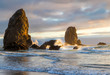 Sun highlighting the rocks in Cannon Beach
