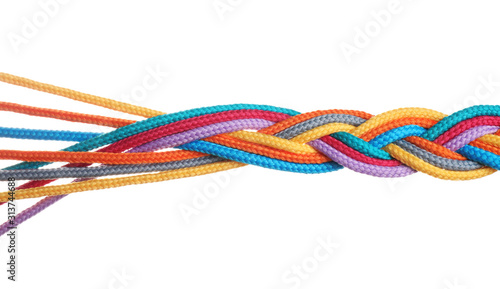 Fotografía Braided colorful ropes isolated on white. Unity concept