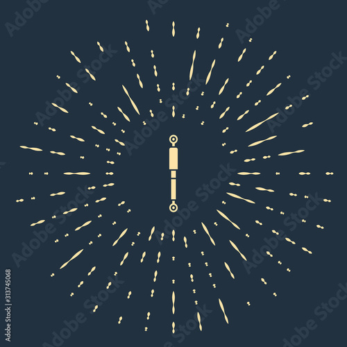 Photo Beige Shock absorber icon isolated on blue background