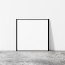 Black Square Frame Mockup. Minimal Square Frame On Concrete Floor. Modern Loft Mock Up 3d Illustrations.