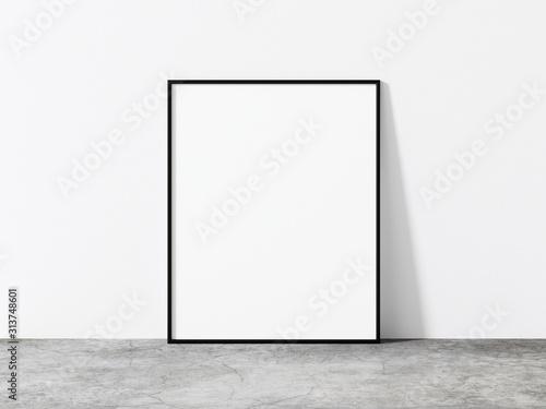 Obraz Vertical black frame mockup. Minimal black frame on concrete floor. Modern loft mock up 3d illustrations. - fototapety do salonu