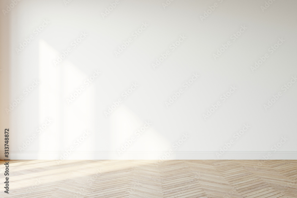 Fototapeta Empty wall mockup. Empty room with a white wall and wood floor. 3D illustration.