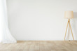 Leinwandbild Motiv White empty room mockup with with sheer curtain, wood floor lamp and wood floor. 3D illustration.