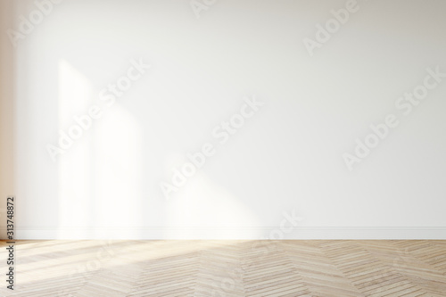 Fototapeta Empty wall mockup. Empty room with a white wall and wood floor. 3D illustration. obraz