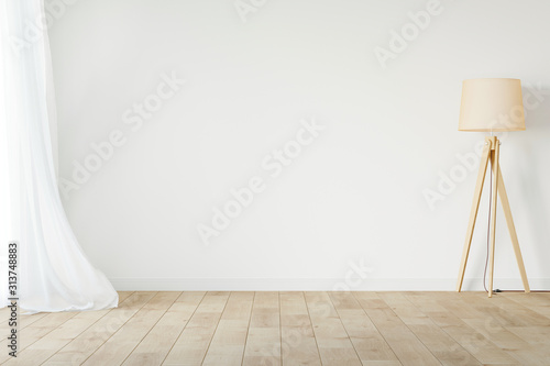 Fotomural White empty room mockup with with sheer curtain, wood floor lamp and wood floor