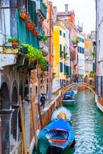 Rainy Day In Venice, Italy. Br...