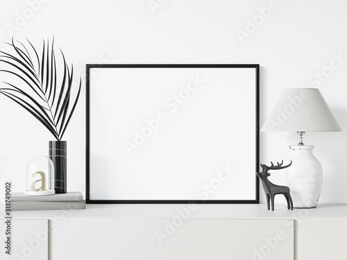 Canvastavla Styled horizontal black frame mockup, Empty Black thin landscape frame 3d illustrations