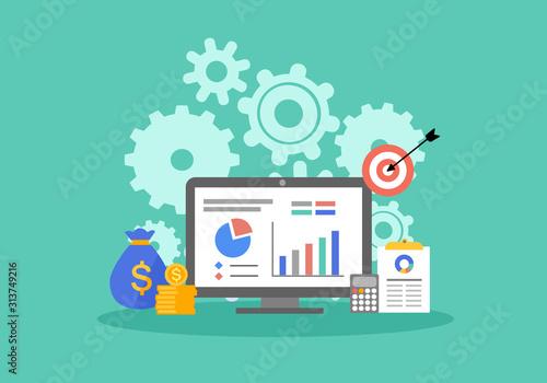 Fototapeta Return on investment ROI business marketing concept. Financial chart, data analysis vector illustration flat design. obraz