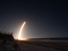 Melbourne, Flordia, USA, January 06, 2020: SpaceX Launch Of Falcon 9 - Starlink 2 Rocket Seen From The Beach