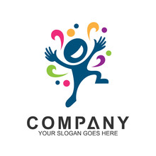 Playful People With Colorful Wave, Fun And Happy Kid Logo Design